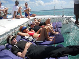 Lounging on Catamaran Trampoline