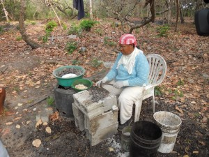 Creole Woman Cracking Cashew Seed Shells