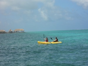 Enjoying the View of Ambergris Caye from a Kayak