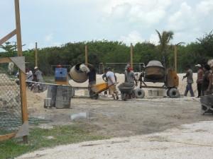 Concrete Mixers and Wheel Barrow Brigade
