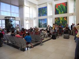 Tourists at San Pedro Tropic Air Terminal