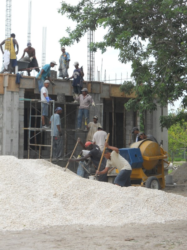 Bucket Brigade Approach to Concrete Pour