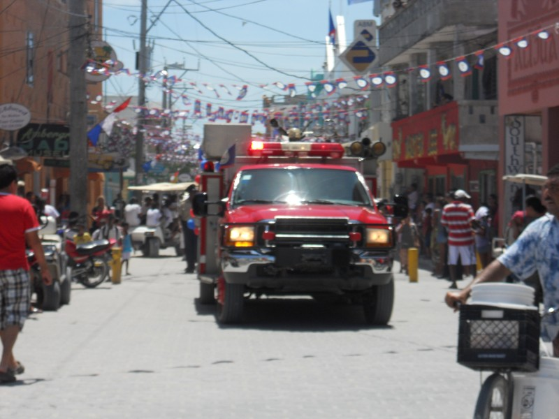 St. George's Caye Parade - Firetruck and Flags