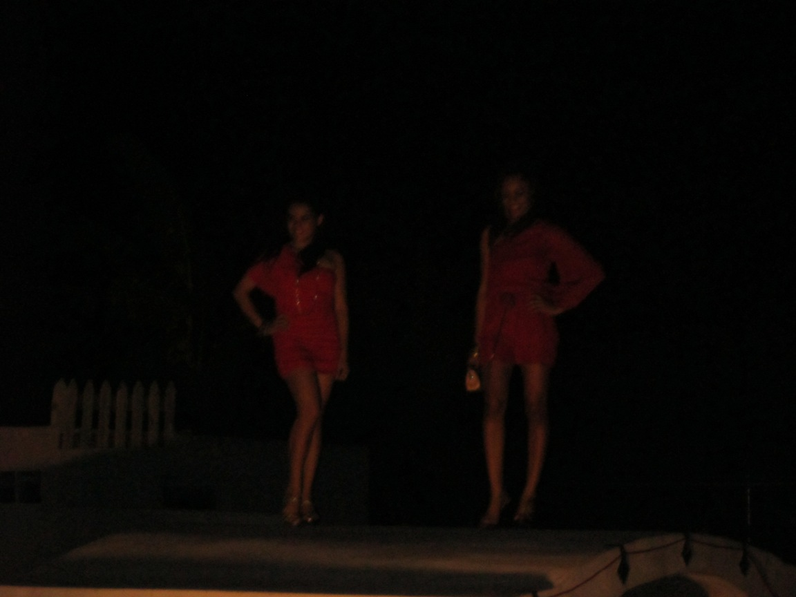 Models in Red Attire at San Pedro Club Show