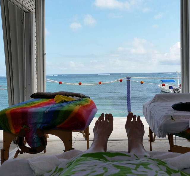 Massage on an upper deck. Fabulous view