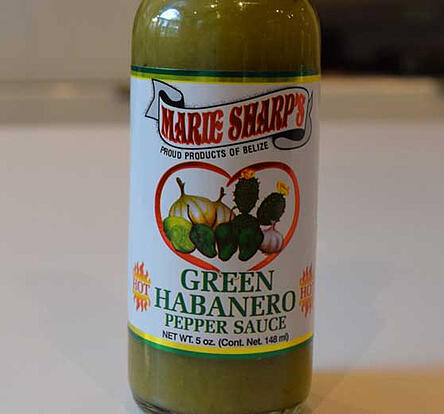 A bottle of delicious Marie Sharp's Green Habanero Sauce1